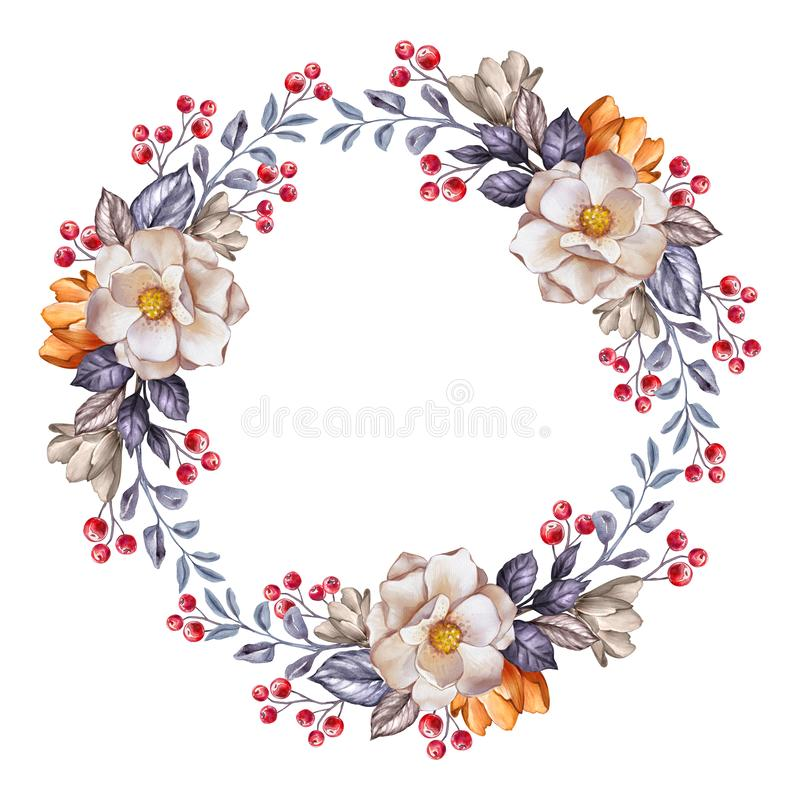 Free Round Floral Wreath, Autumn Botanical Frame, Blank Banner, Watercolor Illustration, Fall Flowers, Clip Art Isolated On White Royalty Free Stock Photo - 156409345