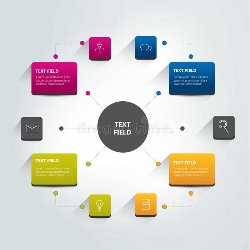 Round flow chart infographics scheme. Vector royalty free illustration