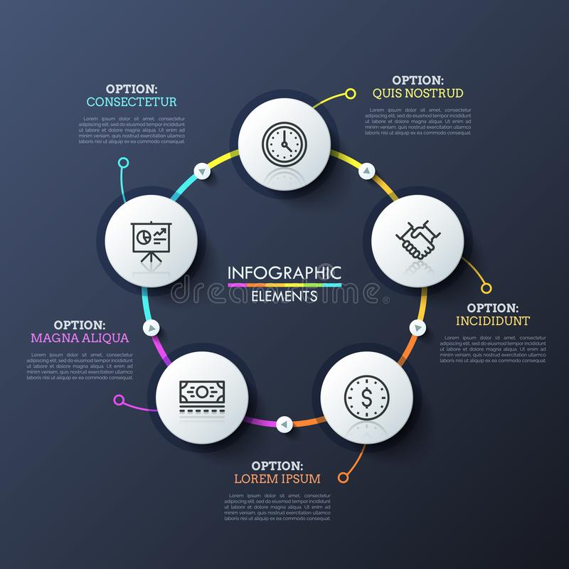 Round flowchart with 5 white circular elements connected by multicolored lines and play buttons. Unique infographic. Design template. Successive steps of deal royalty free illustration