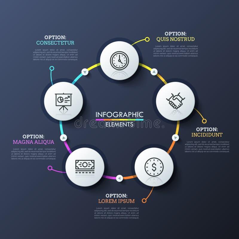 Round flowchart z 5 białymi kółkowymi elementami łączył stubarwnymi liniami i sztuka guzikami Unikalny infographic royalty ilustracja