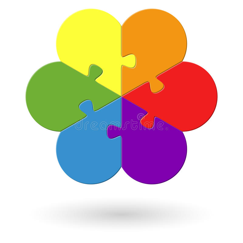 round flower puzzle colored royalty free illustration