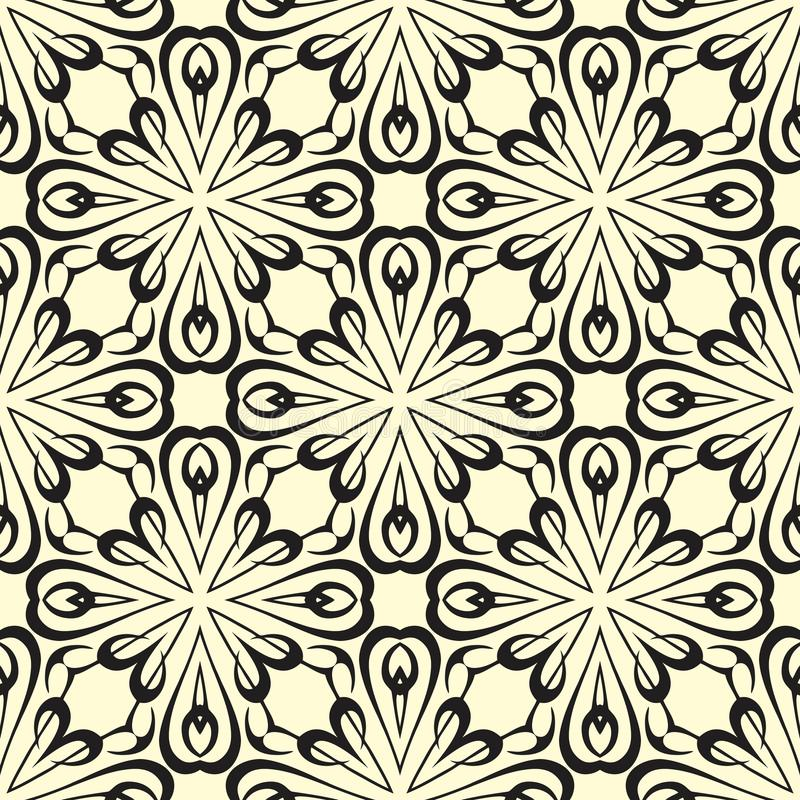 Round flowers vector seamless pattern background illustration in black and white. Seamless background pattern for use in fabrics , web backgrounds , art stock illustration