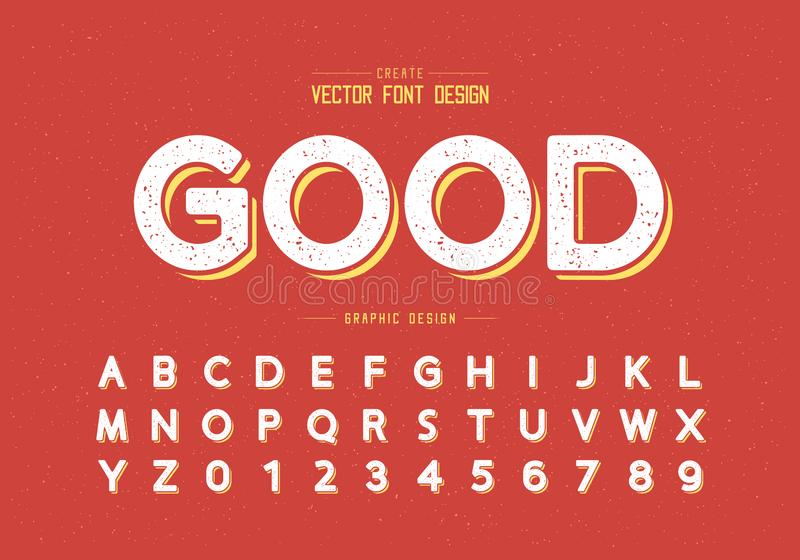 Texture Round font and alphabet vector, Design typeface and number, Graphic text on grunge background. Round font and alphabet vector, Design typeface and number stock illustration