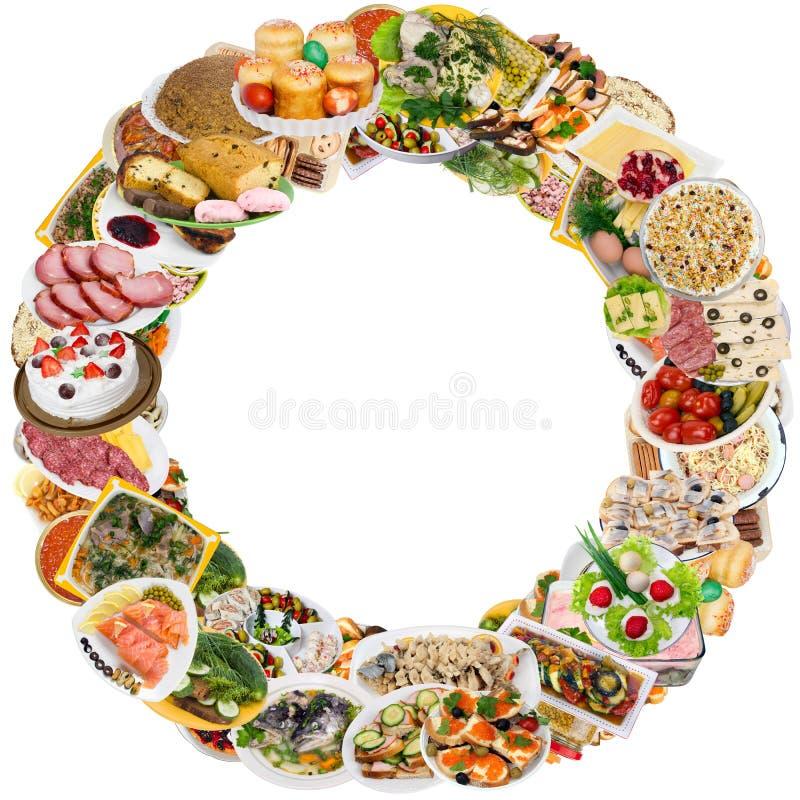 Round food frame stock photo