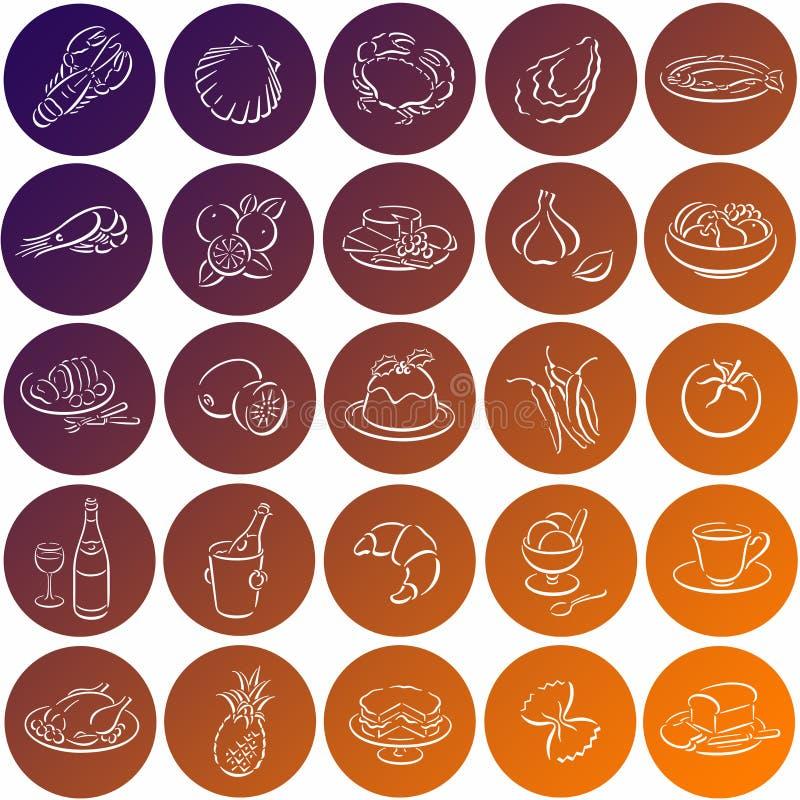 Round food symbols stock photo