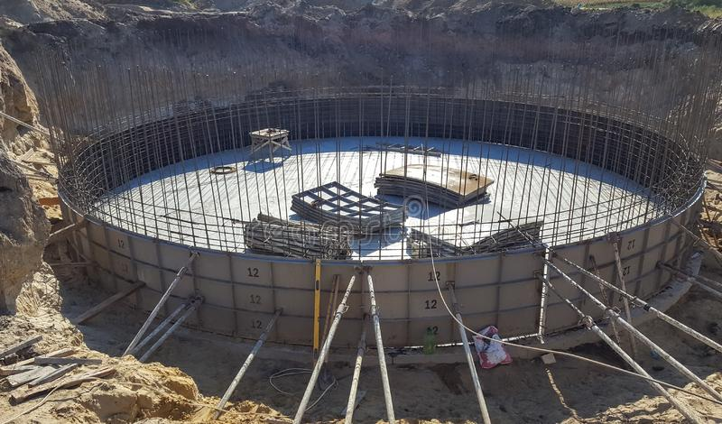Round the foundation with the rebar in the early construction. royalty free stock images