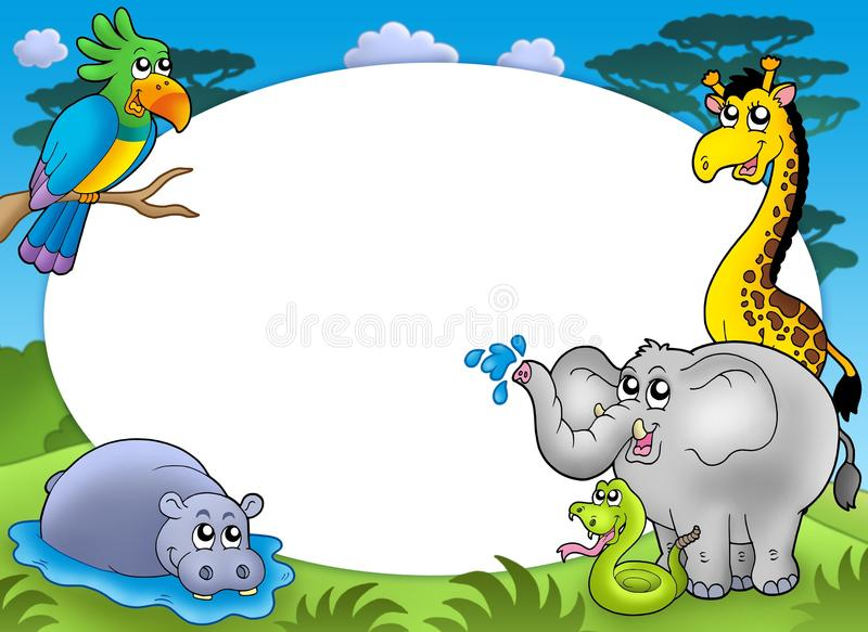 Download Round Frame With African Animals Stock Illustration - Illustration of draw, blank: 9475605