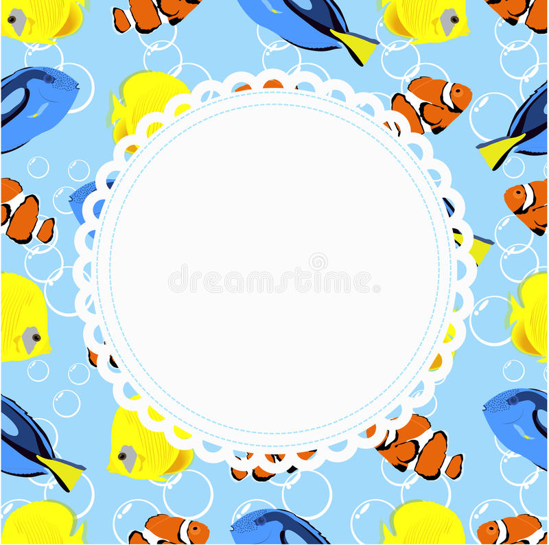 Round frame on a background in marine style with a beautiful aquarium fish. template for photo frame or album, or congratulations. Vector illustration royalty free illustration