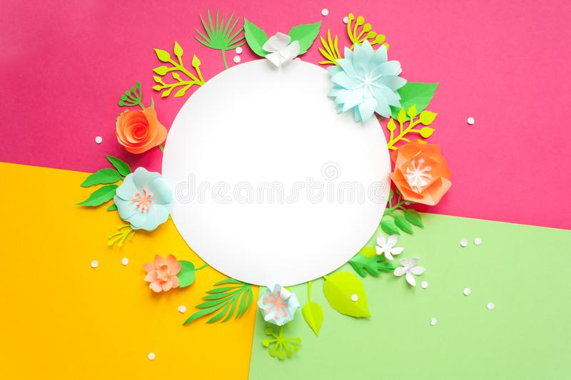 Greeting card with white heart and paper flowers. Cut from paper. royalty free stock image