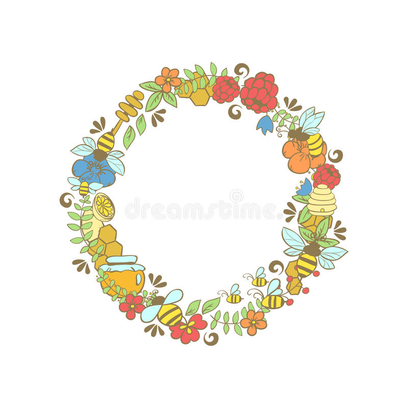 Round frame of bees and honey drops. Insects in Khokhloma decor for summer themes. Round frame of bees and honey drops. Insects in Khokhloma decor for summer stock illustration