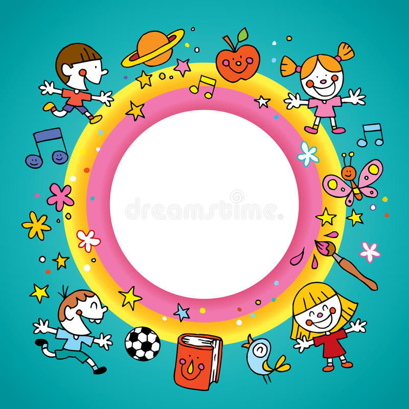 Round frame border with group of kids royalty free illustration