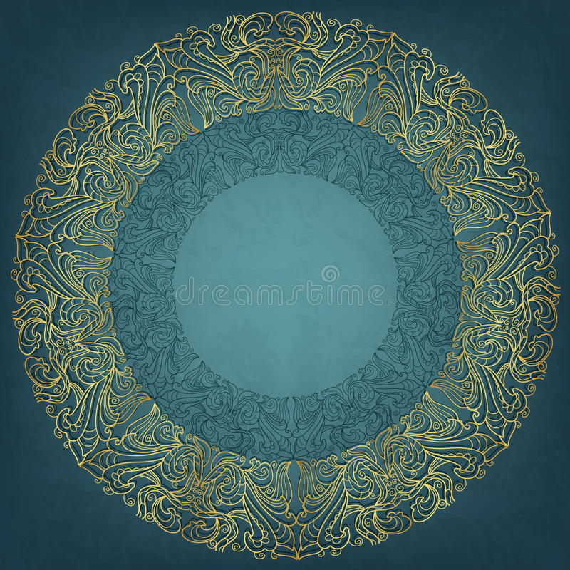 Round frame. Card with round frame. Blue grungy backdrop stock illustration