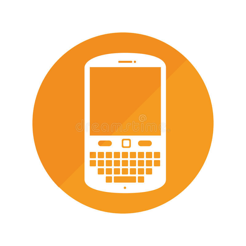 Round frame with cellphone with keyboard. Vector illustration royalty free illustration