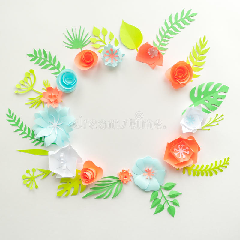 Round frame with color paper flowers on the white background flat download round frame with color paper flowers on the white background flat lay nature mightylinksfo