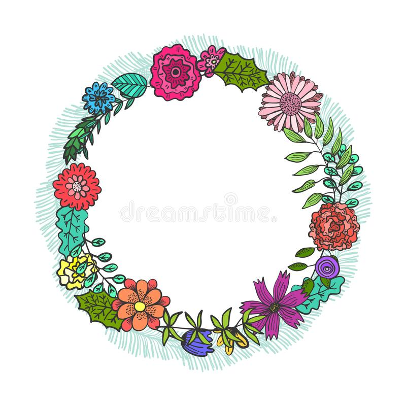 Round frame with color doodle flowers and leaves royalty free illustration