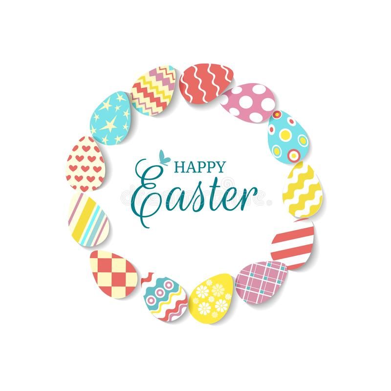 Round frame of colorful eggs with text Happy easter and butterfly on white background. Egg icons in coral, yellow royalty free illustration