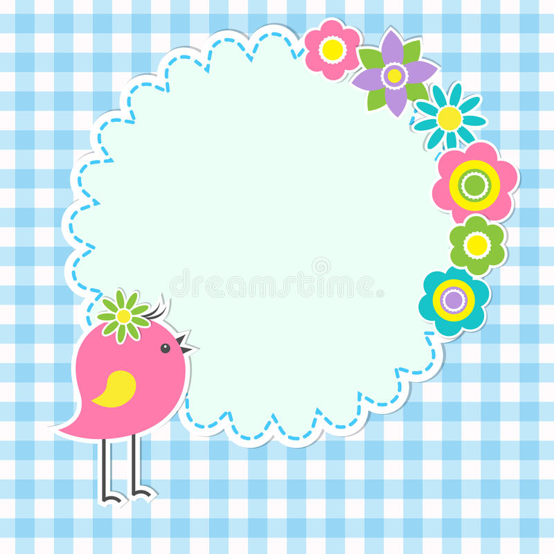 Round frame with cute bird stock vector. Illustration of cute - 31340311