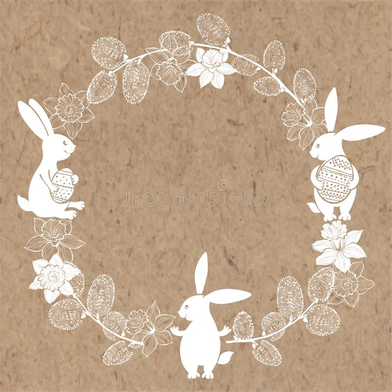 Round frame with cute Easter bunnies, daffodils and willow twigs. Vector illustration on kraft paper. vector illustration