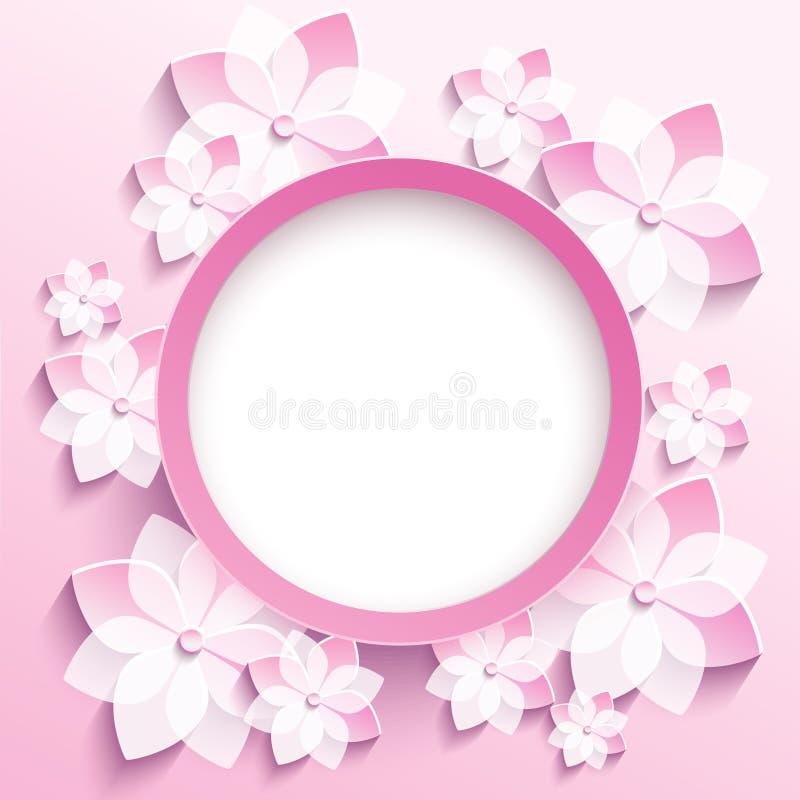 Round frame with 3d pink sakura, greeting card vector illustration
