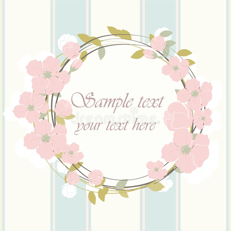 Round frame with delicate pink flowers. Spring floral blossom Vector background. Bright illustration, can be used as card,invitation, for wedding,birthday and royalty free illustration