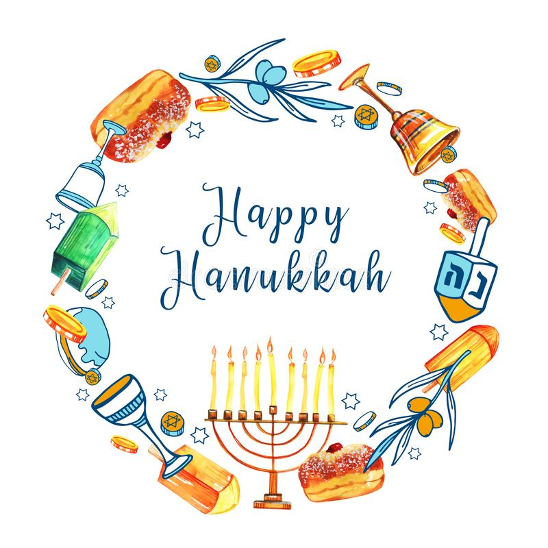 Round frame design template with traditional Hanukkah objects. Menorah, dreidels, donuts. Hand drawn watercolor and color graphic royalty free stock photography