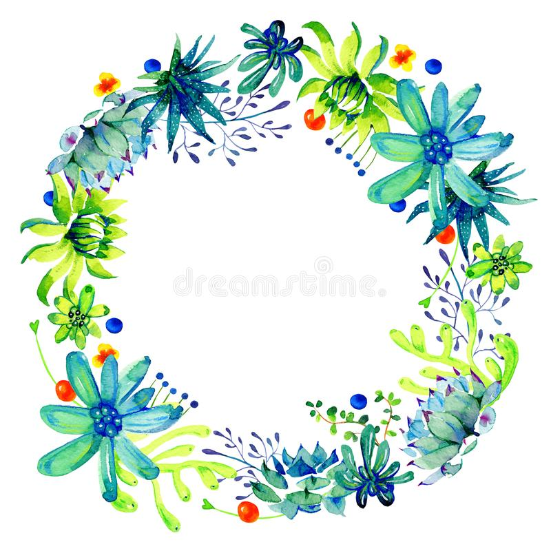 Round frame with different cactuses and succulents. Watercolor hand drawn color sketch illustration royalty free stock photos