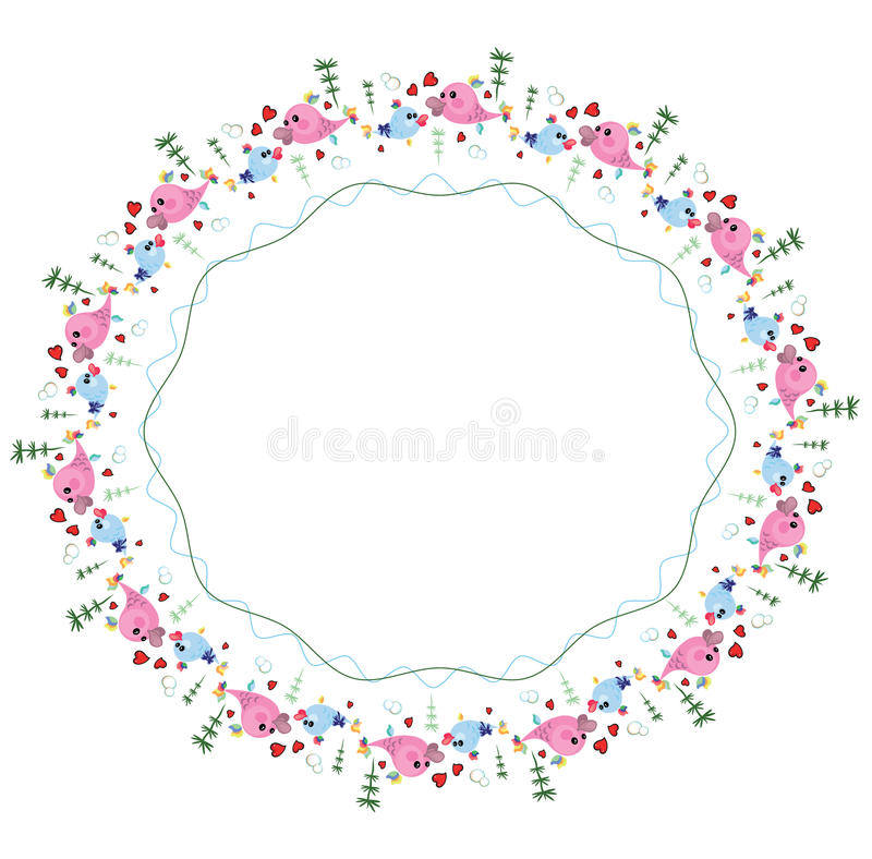 Round Frame With Fish. Royalty Free Stock Photos