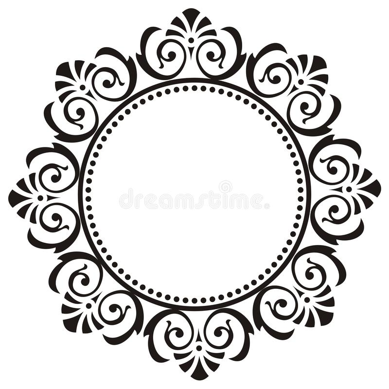 Round frame with floral ornament stock illustration