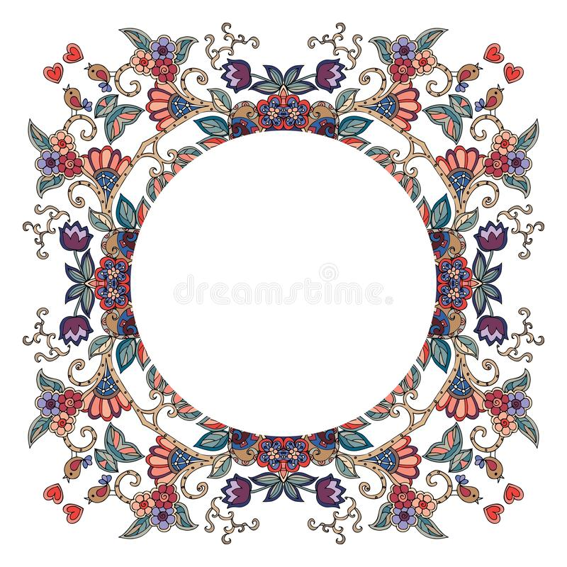 Round frame with flowers, hearts and birds on white background. royalty free illustration