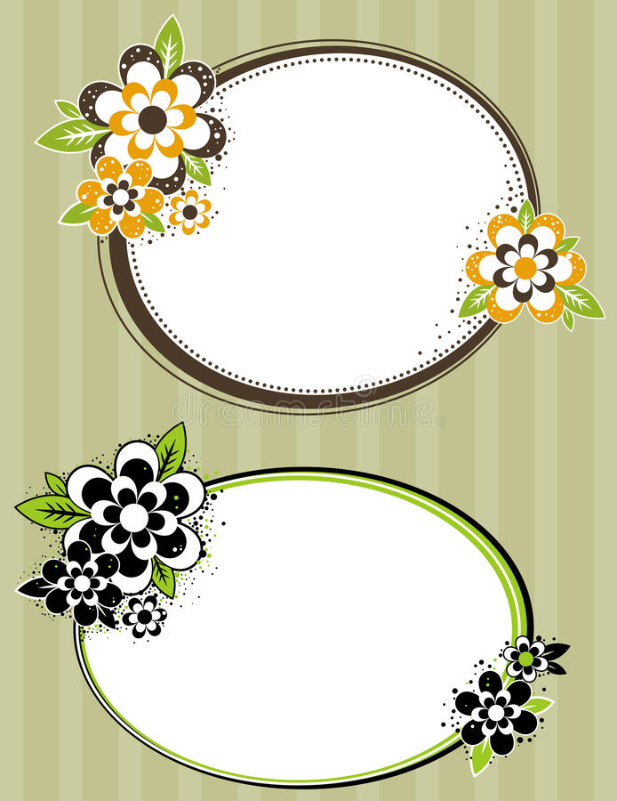 Download Round Frame With Flowers On Striped Background Stock Vector - Image: 16069988