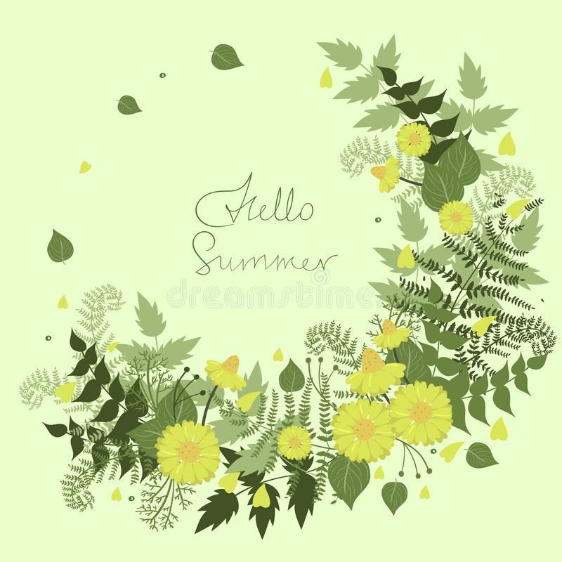 Round frame of flowers with the words hello summer. Vector template stock illustration