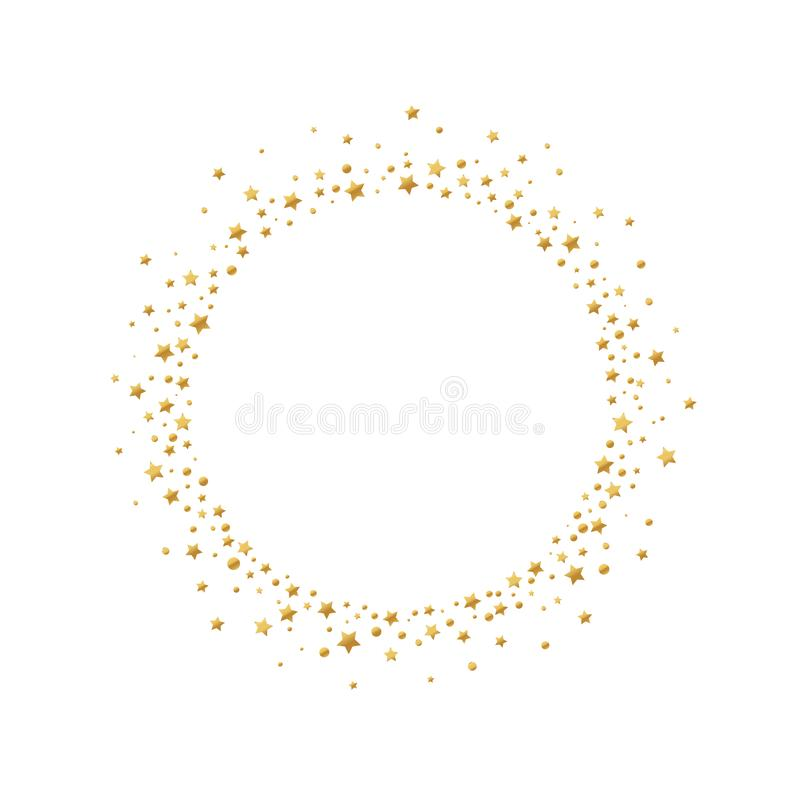 Round frame with gold confetti stars and circles isolated on white background. stock illustration