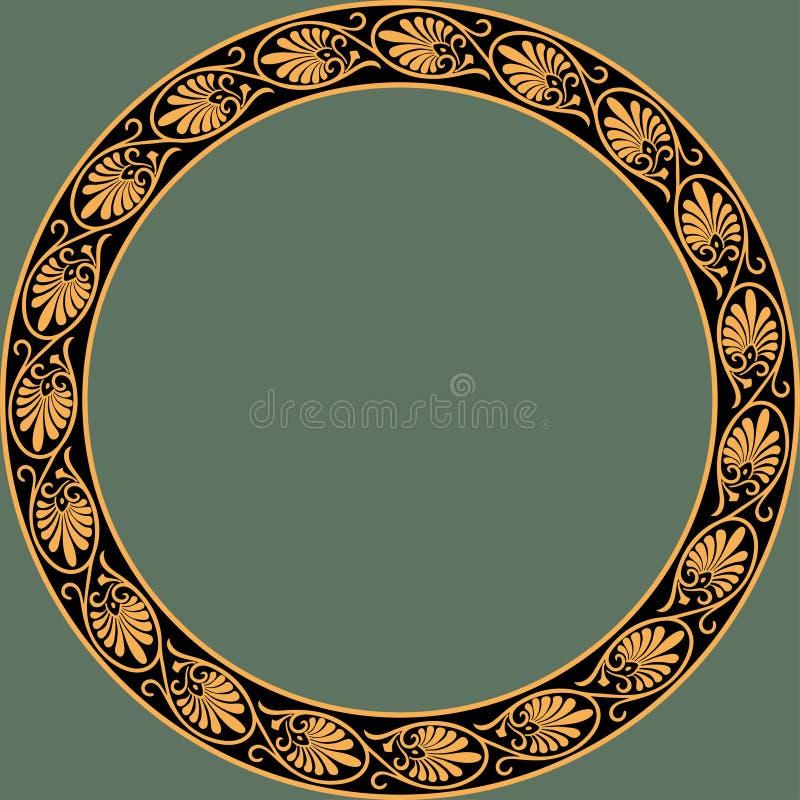 Round frame with greek palmetta ornament. vector illustration
