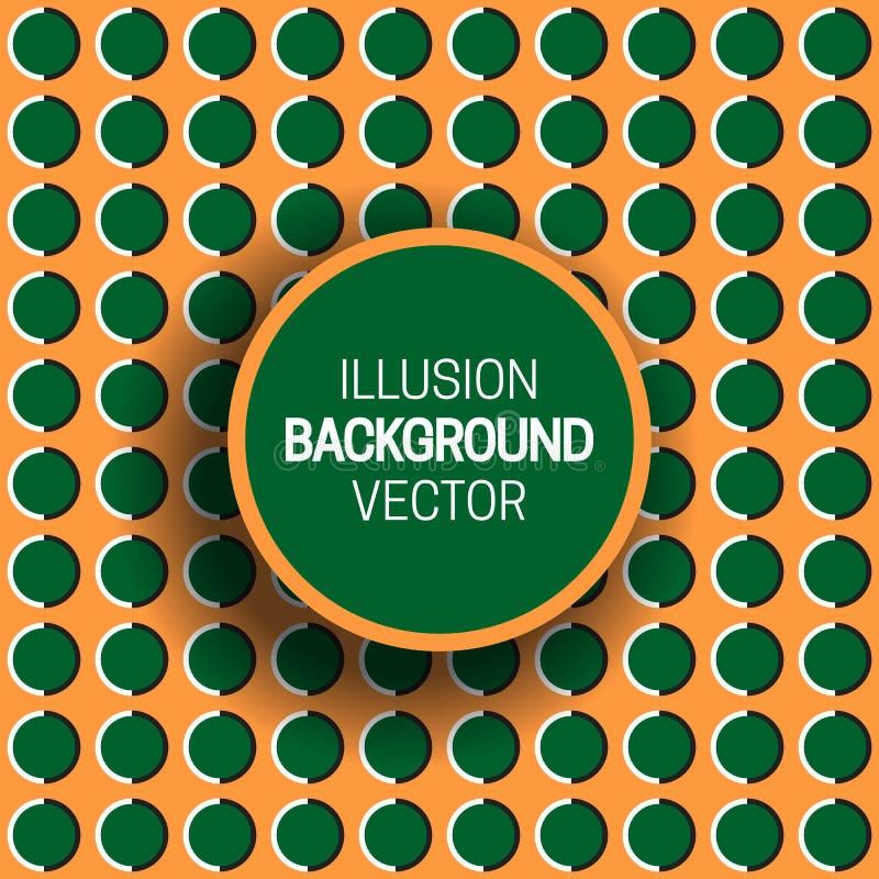 Round frame on green orange optical illusion background of moving polka dot pattern.  stock illustration