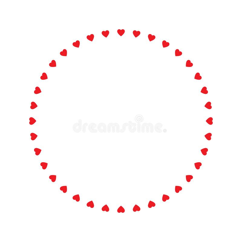 Round frame of hearts, isolated vector romantic round frames with hearts for decorating greeting cards, wedding invitations. Vector illustration isolated stock illustration