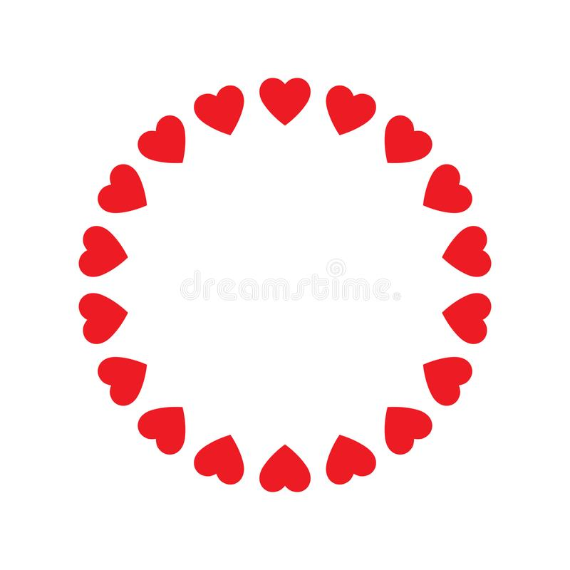 Round frame of hearts, isolated vector romantic round frames with hearts for decorating greeting cards, wedding invitations. Vector illustration on white vector illustration