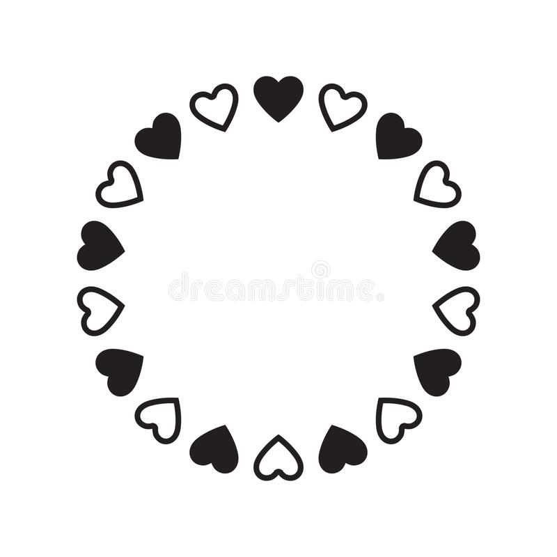 Round frame of hearts, isolated vector romantic round frames with hearts for decorating greeting cards, wedding invitations. Vector illustration on white royalty free illustration