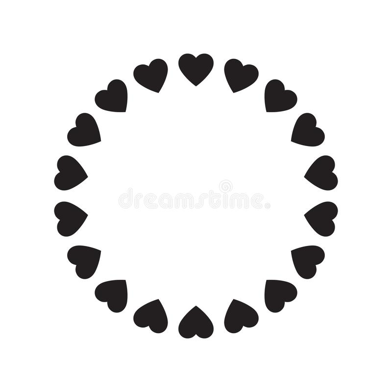 Round frame of hearts, isolated vector romantic round frames with hearts for decorating greeting cards, wedding invitations. Vector illustration on white stock illustration