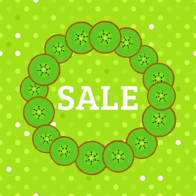 Round frame of kiwi slices. Summer green design sale. Vector illustration with polka dot background. Round frame of kiwi slices. Summer green bright design sale royalty free illustration