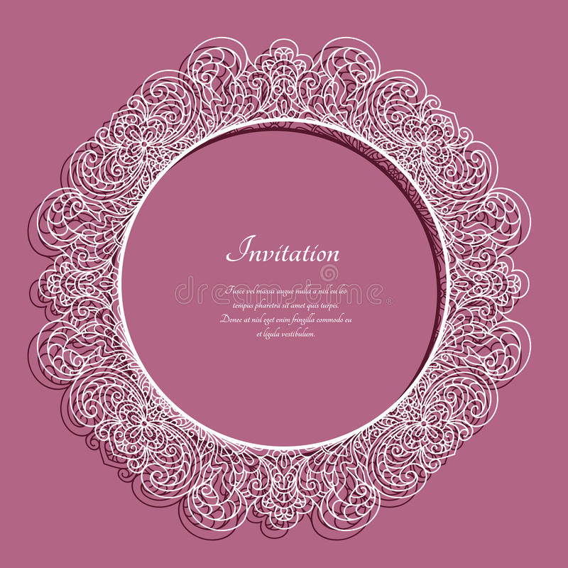 Round frame with lace border pattern vector illustration