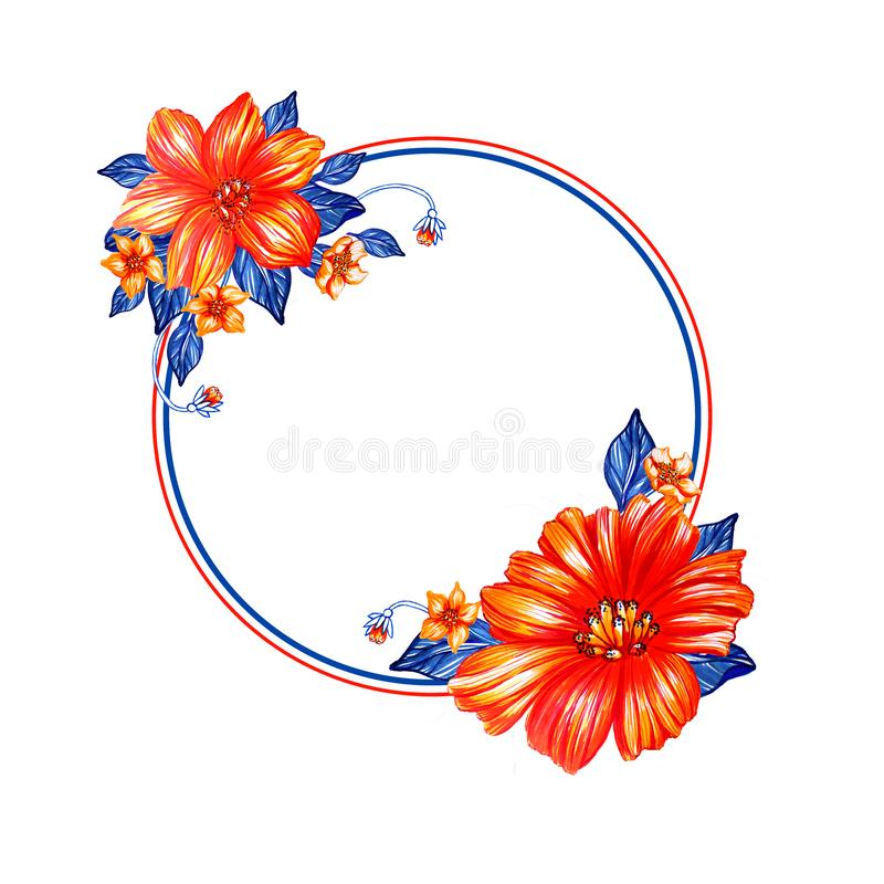 Round frame with large watercolor red flowers and blue leaves. Round frame with a bird and large watercolor red flowers and blue leaves. Empty frame for stock illustration