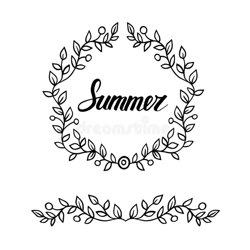 Round Frame Of Leaves With Lettering Word Summer. Hand Draw ...