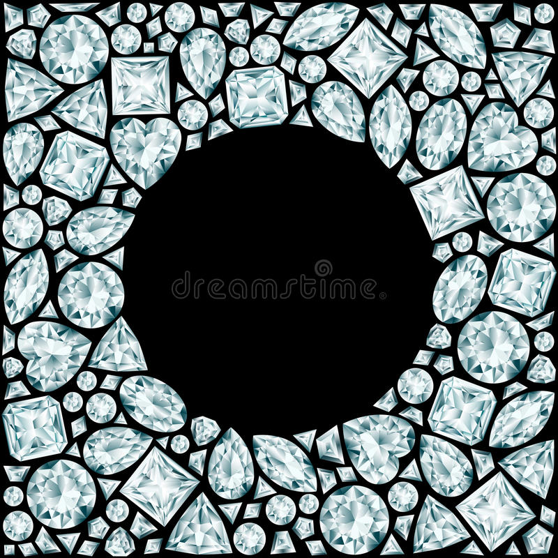 Round frame made of diamonds. On black background royalty free illustration