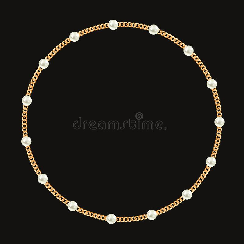 Round frame made with golden chain and white pearls. On black. Vector illustration royalty free illustration