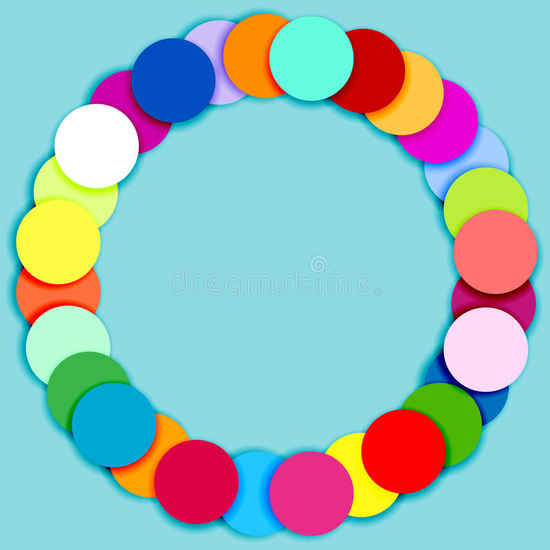 Round frame made of multicolor circles royalty free illustration