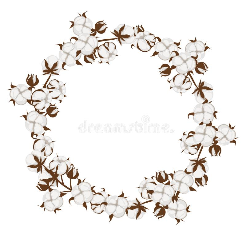 Free Round Frame Made Of Cotton Plants. Vector Graphics Stock Image - 160682871