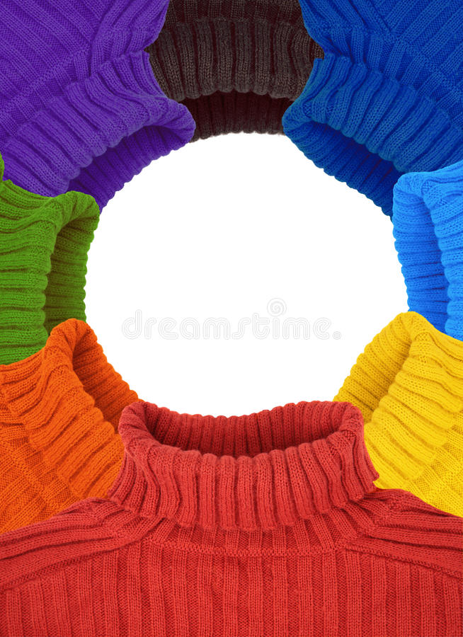 Round frame of multi color rainbow sweaters stock photo