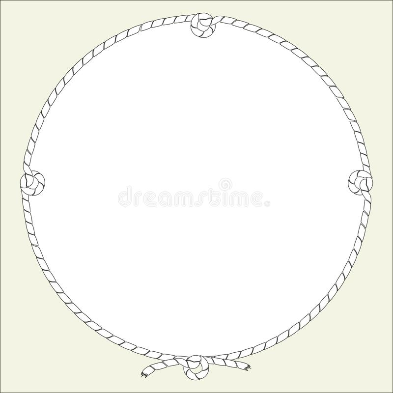 Round frame of nautical rope, cord with knots. Isolated vector illustrations free for text. vector illustration