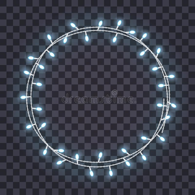 Round frame of overlapping, glowing string lights on a transparent background. Vector illustration. Template for greeting card, poster, flyer, banner royalty free illustration