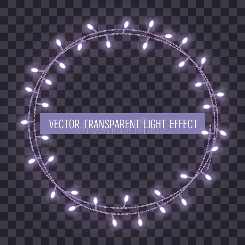 Round frame of overlapping, glowing string lights on a transparent background. Vector illustration vector illustration